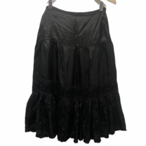 Zara Woman Black Silky Embroidered Tiered Skirt
